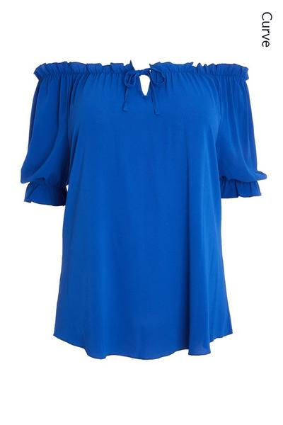 Curve Blue Bardot Top